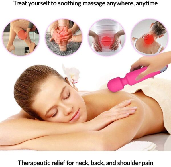 Cordless Wand Massager 8 Powerful Speeds 20 Modes, Rechargeable Handheld Personal Body Back Neck Shoulder Massager Waterproof