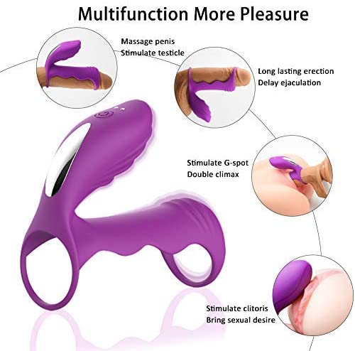 Vibrating Penis Ring- G-spot Dildo Vibrator Cock Ring, Silicone Sex Toy for Men or Couple, Remote Control Silicone Dual Penis Ring Vagina Clitoris Stimulator