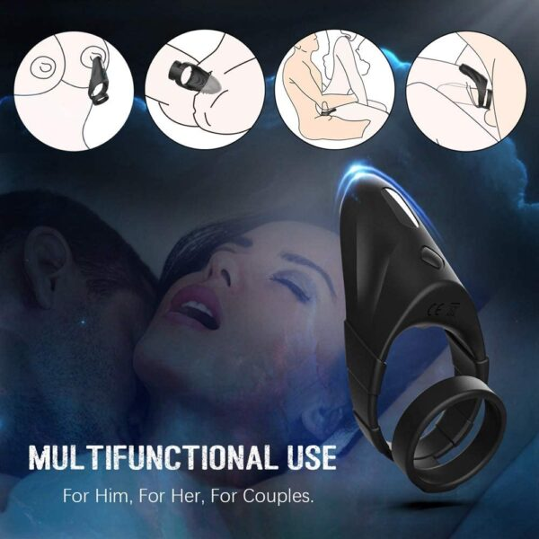 Vibrating Dual Penis Ring with Taint Teaser, Dildo Vibrator Stretchy Cock Ring Longer Harder Stronger Sex Toys for Male and Couples Play (Taint) Prostate Massager